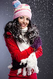 Mujer con nieve Imágenes de archivo libres de regalías