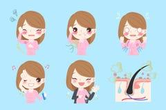 Mujer con olor corporal stock de ilustración