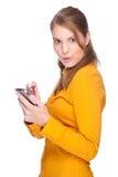 Mujer con PDA Foto de archivo