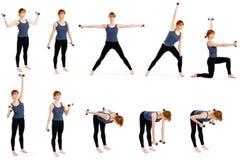 Mujer con pesas de gimnasia en varias actitudes Imagen de archivo