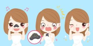 Mujer con problema del acné Stock de ilustración