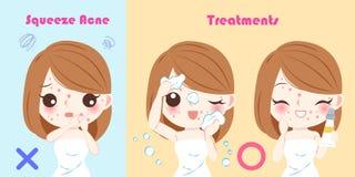 Mujer con problema del acné del apretón Imagenes de archivo