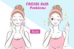 Mujer con problema del skincare ilustración del vector