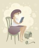 Mujer con smartphone en la cocina ilustración del vector