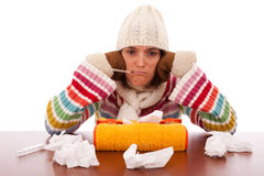 Mujer con síntomas de la gripe Imagen de archivo