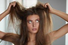 Mujer con sostener el cabello seco de largo dañado Daño del pelo, Haircare foto de archivo libre de regalías