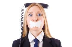 Mujer con su boca sellada aislada Foto de archivo