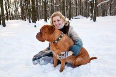 Mujer con su perro Fotografía de archivo