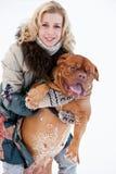 Mujer con su perro Fotos de archivo libres de regalías