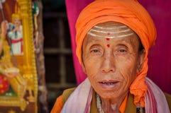 Mujer con tres puntos en Bengala Occidental Fotografía de archivo