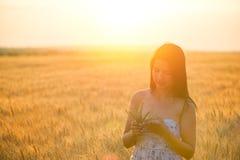 Mujer con un bouguet del trigo en campo de trigo en la puesta del sol Fotografía de archivo libre de regalías