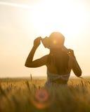 Mujer con un bouguet del trigo en campo de trigo en la puesta del sol Foto de archivo