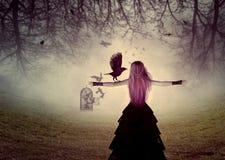 Mujer con un cuervo stock de ilustración