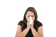 Mujer con un frío o una alergia Imagen de archivo libre de regalías