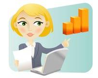 Mujer con un gráfico de barra Imagenes de archivo