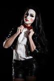Mujer con un maquillaje cosplay de la película de la sierra imágenes de archivo libres de regalías