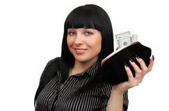 mujer con un monedero Imagen de archivo