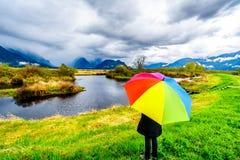Mujer con un paraguas coloreado arco iris debajo de las nubes de lluvia oscuras en un d?a de primavera fr?o en las lagunas del pa fotos de archivo