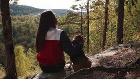 Mujer con un perro encantador que camina en el parque del otoño almacen de metraje de vídeo