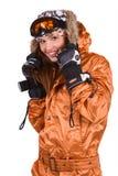 Mujer con un snowboard aislado en blanco Fotos de archivo