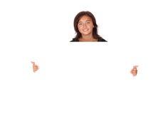 Mujer con un sujetapapeles en blanco Fotografía de archivo