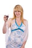 Mujer con un vidrio de vino. Foto de archivo libre de regalías