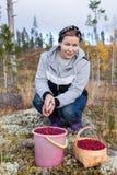 Mujer con una cesta y un cubo por completo de arándanos maduros fotografía de archivo libre de regalías