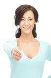 Mujer con una mano abierta lista para el apretón de manos Foto de archivo