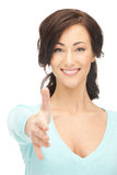 Mujer con una mano abierta lista para el apretón de manos Imagen de archivo