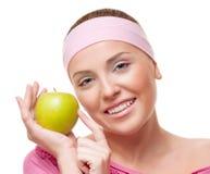 Mujer con una manzana fotos de archivo