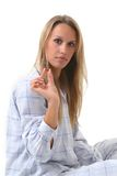 Mujer con una píldora Imagen de archivo