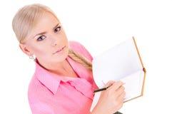 Mujer con una pista imágenes de archivo libres de regalías
