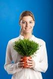 Mujer con una planta Imagen de archivo libre de regalías