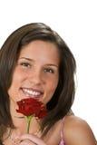 Mujer con una rosa Fotografía de archivo