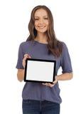 Mujer con una tableta digital Imagen de archivo libre de regalías