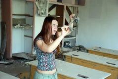 Mujer con una tira de la película Imagenes de archivo