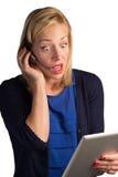 Mujer confusa del servicio de atención al cliente Fotografía de archivo