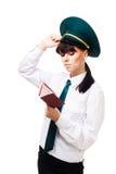 Mujer confusa del trabajador de las aduanas Imagen de archivo libre de regalías