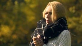 Mujer congelada en el parque del otoño que siente manos frías, que se calientan, riesgo de la enfermedad de la angina imagen de archivo libre de regalías