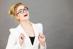 Mujer, contable o profesor positivo feliz de negocios Imagen de archivo libre de regalías