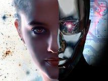 Mujer contra el robot Fotografía de archivo
