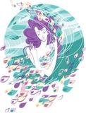 Mujer contra el viento stock de ilustración