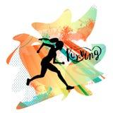 Mujer corriente Ejemplo del vector de la línea estilo Coloree el cartel, la impresión o la bandera del deporte para el maratón ilustración del vector