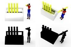 mujer 3d con las colecciones del concepto del soporte de la pluma con Alpha And Shadow Channel Imágenes de archivo libres de regalías