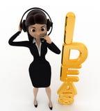 mujer 3d que habla en el auricular y con concepto de oro de las ideas Imágenes de archivo libres de regalías