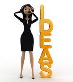 mujer 3d que habla en el auricular y con concepto de oro de las ideas Imagenes de archivo