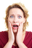 Mujer dada una sacudida eléctrica Imagenes de archivo