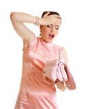 Mujer dada una sacudida eléctrica Imagen de archivo libre de regalías