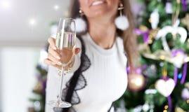Mujer de Appy que sostiene el vidrio de vino Foto de archivo libre de regalías