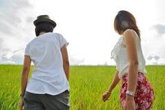 Mujer de Asia en el prado Imagen de archivo